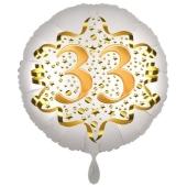 Satin Weiß/Gold Zahl 33 Luftballon aus Folie zum 20. Geburtstag, 45 cm, Satin Luxe, heliumgefüllt