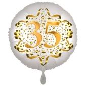 Satin Weiß/Gold Zahl 35 Luftballon aus Folie zum 20. Geburtstag, 45 cm, Satin Luxe, heliumgefüllt