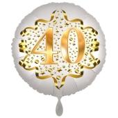 Satin Weiß/Gold Zahl 40 Luftballon aus Folie zum 20. Geburtstag, 45 cm, Satin Luxe, heliumgefüllt