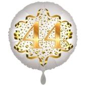 Satin Weiß/Gold Zahl 44 Luftballon aus Folie zum 20. Geburtstag, 45 cm, Satin Luxe, heliumgefüllt