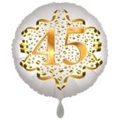 Satin Weiß/Gold Zahl 45 Luftballon aus Folie zum 20. Geburtstag, 45 cm, Satin Luxe, heliumgefüllt