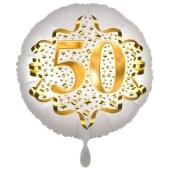 Satin Weiß/Gold Zahl 50 Luftballon aus Folie zum 20. Geburtstag, 45 cm, Satin Luxe, heliumgefüllt