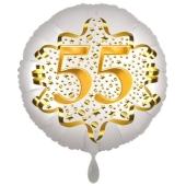 Satin Weiß/Gold Zahl 55 Luftballon aus Folie zum 20. Geburtstag, 45 cm, Satin Luxe, heliumgefüllt