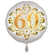 Satin Weiß/Gold Zahl 60 Luftballon aus Folie zum 20. Geburtstag, 45 cm, Satin Luxe, heliumgefüllt