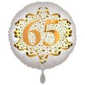 Satin Weiß/Gold Zahl 65 Luftballon aus Folie zum 20. Geburtstag, 45 cm, Satin Luxe, heliumgefüllt