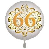 Satin Weiß/Gold Zahl 66 Luftballon aus Folie zum 20. Geburtstag, 45 cm, Satin Luxe, heliumgefüllt