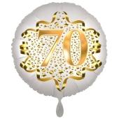 Satin Weiß/Gold Zahl 70 Luftballon aus Folie zum 20. Geburtstag, 45 cm, Satin Luxe, heliumgefüllt