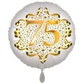 Satin Weiß/Gold Zahl 75 Luftballon aus Folie zum 20. Geburtstag, 45 cm, Satin Luxe, heliumgefüllt
