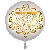 Satin Weiß/Gold Zahl 77 Luftballon aus Folie zum 20. Geburtstag, 45 cm, Satin Luxe, heliumgefüllt