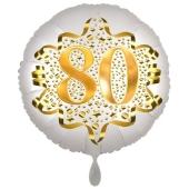 Satin Weiß/Gold Zahl 80 Luftballon aus Folie zum 20. Geburtstag, 45 cm, Satin Luxe, heliumgefüllt
