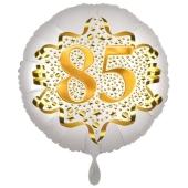 Satin Weiß/Gold Zahl 85 Luftballon aus Folie zum 20. Geburtstag, 45 cm, Satin Luxe, heliumgefüllt