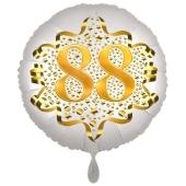 Satin Weiß/Gold Zahl 88 Luftballon aus Folie zum 20. Geburtstag, 45 cm, Satin Luxe, heliumgefüllt