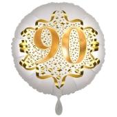 Satin Weiß/Gold Zahl 90 Luftballon aus Folie zum 20. Geburtstag, 45 cm, Satin Luxe, heliumgefüllt