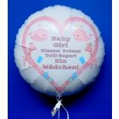 Rundluftballon Weiß aus Folie mit Helium zu Geburt und Taufe, Baby Party: Girl - Baby Girl - Ein Mädchen!