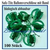 Safe Tite Ballonverschlüsse mit Ballonbändern, 100 Stück, biologisch abbaubar
