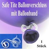 Safe Tite Ballonverschluss mit Ballonband, 1 Stück