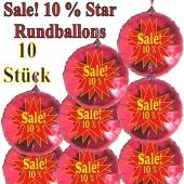 Sale! 10 % Star, 10 Stück rote Rundballons zur Befüllung mit Luft, zu Werbeaktionen, Rabattaktionen, Schaufensterdekoration