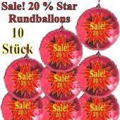Sale! 20 % Star, 10 Stück rote Rundballons zur Befüllung mit Luft, zu Werbeaktionen, Rabattaktionen, Schaufensterdekoration