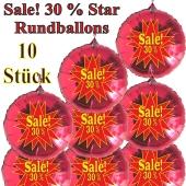 Sale! 30 % Star, 10 Stück rote Rundballons zur Befüllung mit Luft, zu Werbeaktionen, Rabattaktionen, Schaufensterdekoration