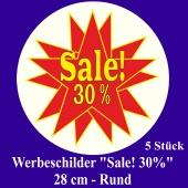 """Werbeschilder """"Sale! 30%"""" 5 Stück, rund, 28 cm"""