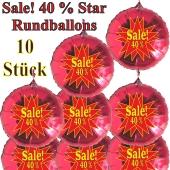 Sale! 40 % Star, 10 Stück rote Rundballons zur Befüllung mit Luft, zu Werbeaktionen, Rabattaktionen, Schaufensterdekoration