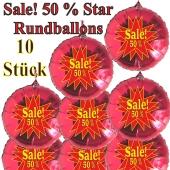 Sale! 50 % Star, 10 Stück rote Rundballons zur Befüllung mit Luft, zu Werbeaktionen, Rabattaktionen, Schaufensterdekoration