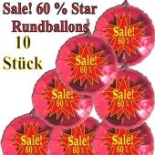 Sale! 60 % Star, 10 Stück rote Rundballons zur Befüllung mit Luft, zu Werbeaktionen, Rabattaktionen, Schaufensterdekoration
