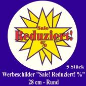 """Werbeschilder """"Sale! Reduziert! %"""" 5 Stück, rund, 28 cm"""