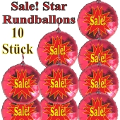 Sale! Star, 10 Stück rote Rundballons zur Befüllung mit Luft, zu Werbeaktionen, Rabattaktionen, Schaufensterdekoration