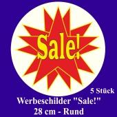 """Werbeschilder """"Sale!"""" 5 Stück, rund, 28 cm"""