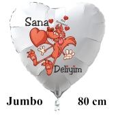 """Großer Herzluftballon in Weiß """"Sana Deliyim!"""""""