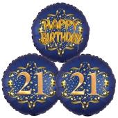Satin Navy & Gold 21 Happy Birthday, Luftballons aus Folie zum 21. Geburtstag, inklusive Helium