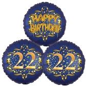 Satin Navy & Gold 22 Happy Birthday, Luftballons aus Folie zum 22. Geburtstag, inklusive Helium