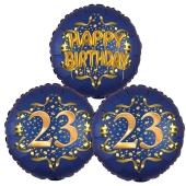 Satin Navy & Gold 23 Happy Birthday, Luftballons aus Folie zum 23. Geburtstag, inklusive Helium