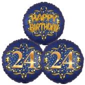 Satin Navy & Gold 24 Happy Birthday, Luftballons aus Folie zum 24. Geburtstag, inklusive Helium