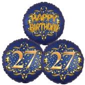 Satin Navy & Gold 27 Happy Birthday, Luftballons aus Folie zum 27. Geburtstag, inklusive Helium