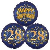 Satin Navy & Gold 28 Happy Birthday, Luftballons aus Folie zum 28. Geburtstag, inklusive Helium