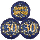 Satin Navy & Gold 30 Happy Birthday, Luftballons aus Folie zum 30. Geburtstag, inklusive Helium