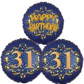 Satin Navy & Gold 31 Happy Birthday, Luftballons aus Folie zum 31. Geburtstag, inklusive Helium