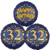 Satin Navy & Gold 32 Happy Birthday, Luftballons aus Folie zum 32. Geburtstag, inklusive Helium