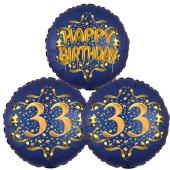 Satin Navy & Gold 33 Happy Birthday, Luftballons aus Folie zum 33. Geburtstag, inklusive Helium