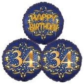 Satin Navy & Gold 34 Happy Birthday, Luftballons aus Folie zum 34. Geburtstag, inklusive Helium
