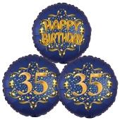 Satin Navy & Gold 35 Happy Birthday, Luftballons aus Folie zum 35. Geburtstag, inklusive Helium