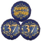 Satin Navy & Gold 37 Happy Birthday, Luftballons aus Folie zum 37. Geburtstag, inklusive Helium