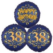 Satin Navy & Gold 38 Happy Birthday, Luftballons aus Folie zum 38. Geburtstag, inklusive Helium