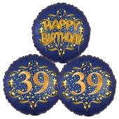 Satin Navy & Gold 39 Happy Birthday, Luftballons aus Folie zum 39. Geburtstag, inklusive Helium