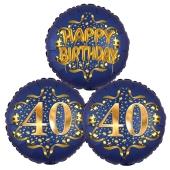Satin Navy & Gold 40 Happy Birthday, Luftballons aus Folie zum 40. Geburtstag, inklusive Helium
