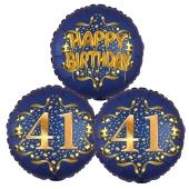 Satin Navy & Gold 41 Happy Birthday, Luftballons aus Folie zum 41. Geburtstag, inklusive Helium