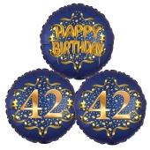 Satin Navy & Gold 42 Happy Birthday, Luftballons aus Folie zum 42. Geburtstag, inklusive Helium