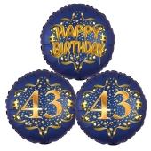 Satin Navy & Gold 43 Happy Birthday, Luftballons aus Folie zum 43. Geburtstag, inklusive Helium